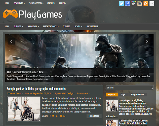 PlayGames Blogger Template