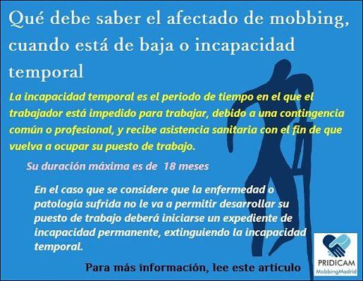 Qué debe saber el afectado de mobbing, cuando está de baja o incapacidad temporal