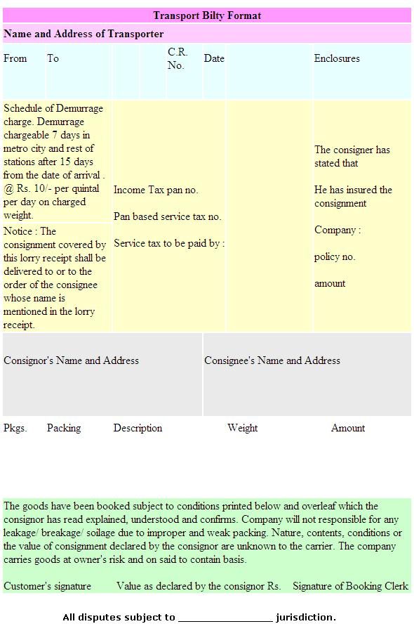 Transport Bilty Format | Accounting Education