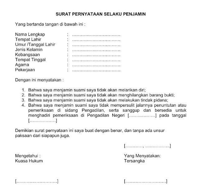 Contoh Surat Pernyataan Jaminan yang Baik Resmi dan Benar Format Word  Doc