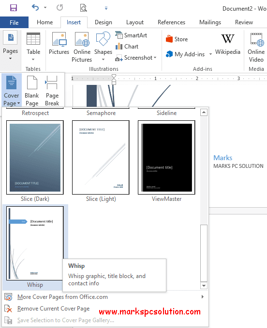 Add a Cover Page in your Document