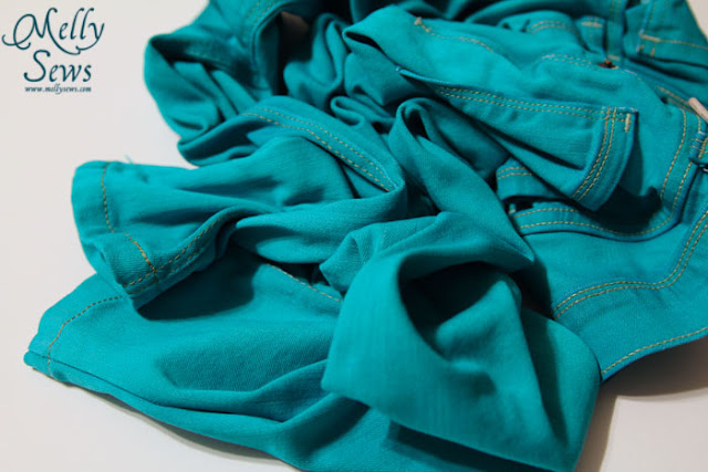 Hand dyed fabric project - turquoise pile of fabric