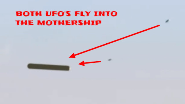 Both UFOs flying in to the Mothership UFO.