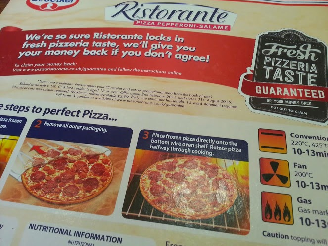 Dr Oetker Ristorante Pizza Review box rear