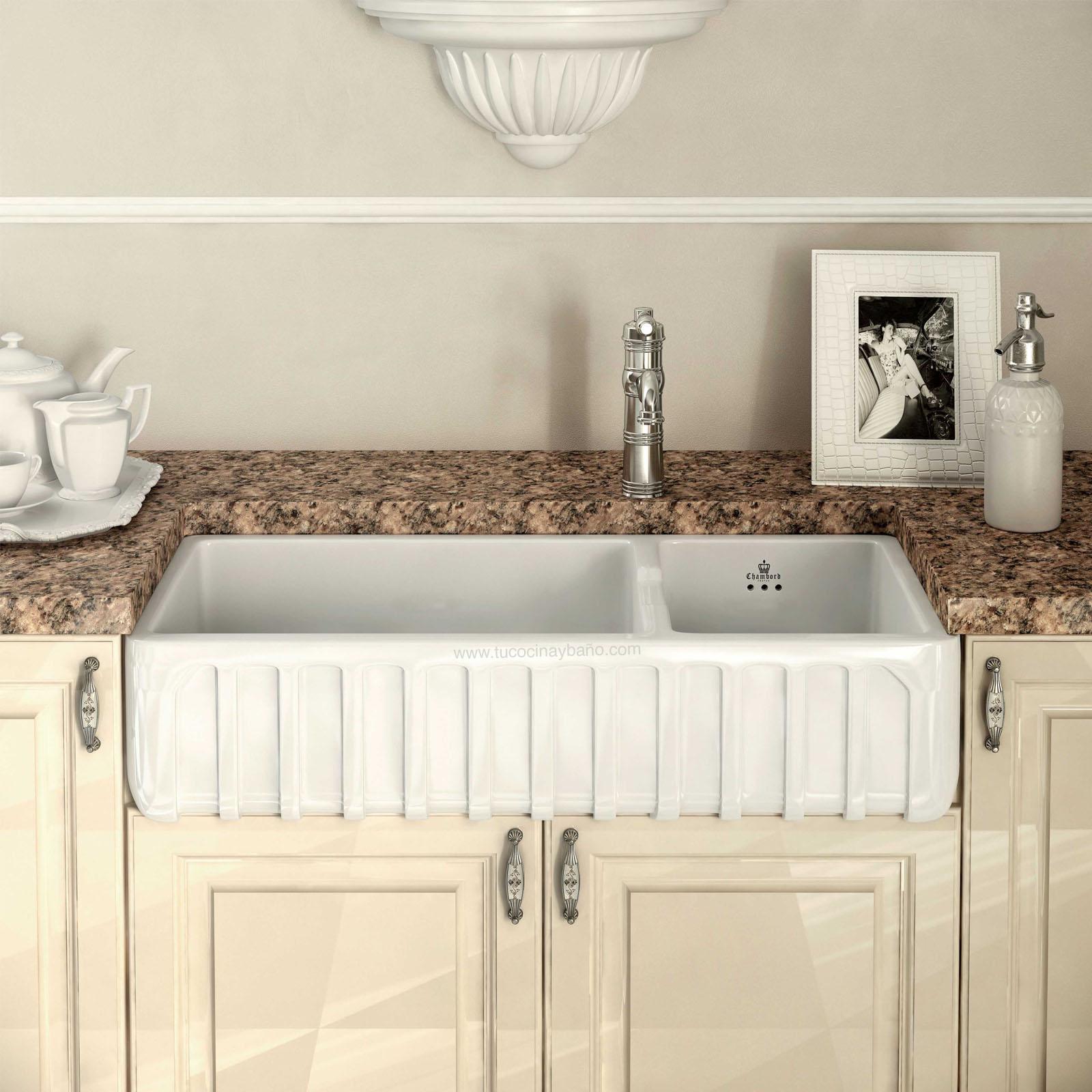 Fregadero ceramico luis iii tu cocina y ba o - Fregadero sobre encimera ...