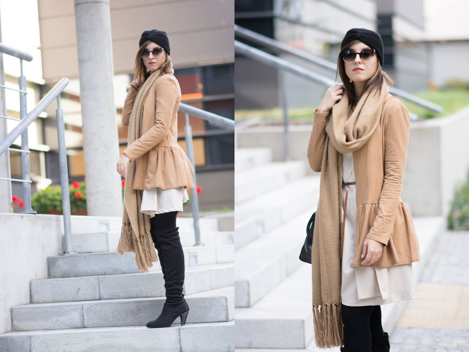 Blogger street style outfit Camel blazer, simple dress, big woolen coat, overknee boots and turban hat