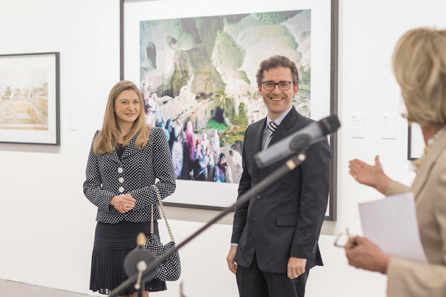 "Crown Duchess of Luxembourg Stephanie accompanied by representatives of the Association ""Les Amis des Musées d'Art et d'Histoire Luxembourg"