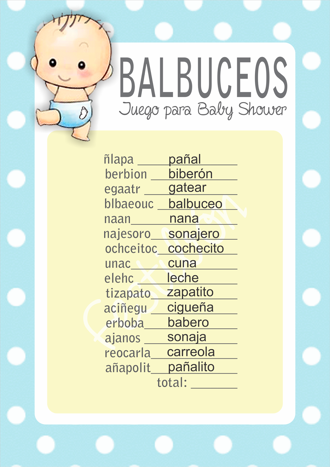 Balbuceos Juegos Para Baby Shower Para Imprimir