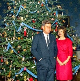 President and Mrs. Kennedy in front of their Christmas tree in 1963