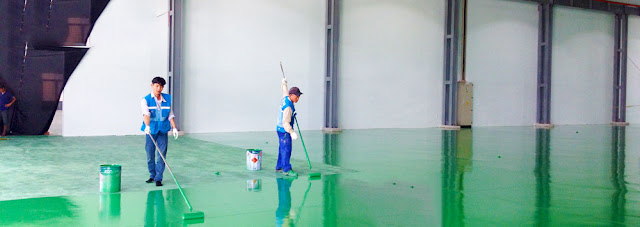 thi công sơn epoxy tự phẳng nhà xưởng