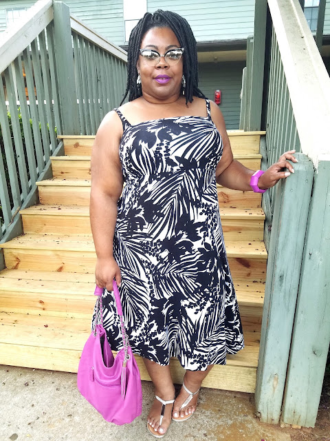 Black and white, palm print dress, sundress, fucshia accessories, MAC Heroine lipstick