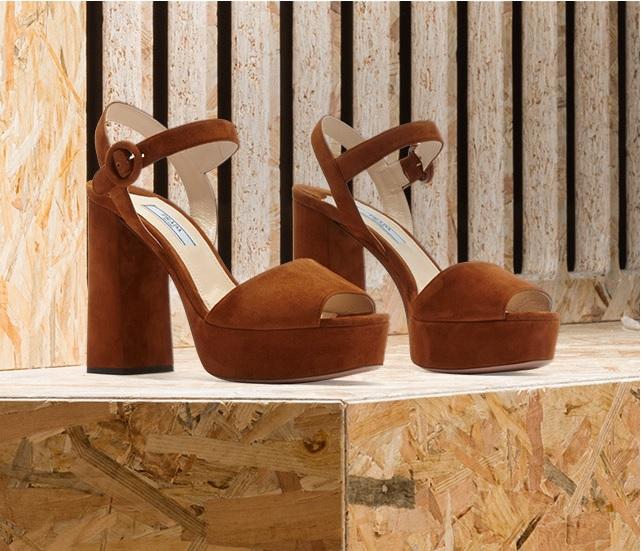 Suede Peep-Toe Platform Sandals