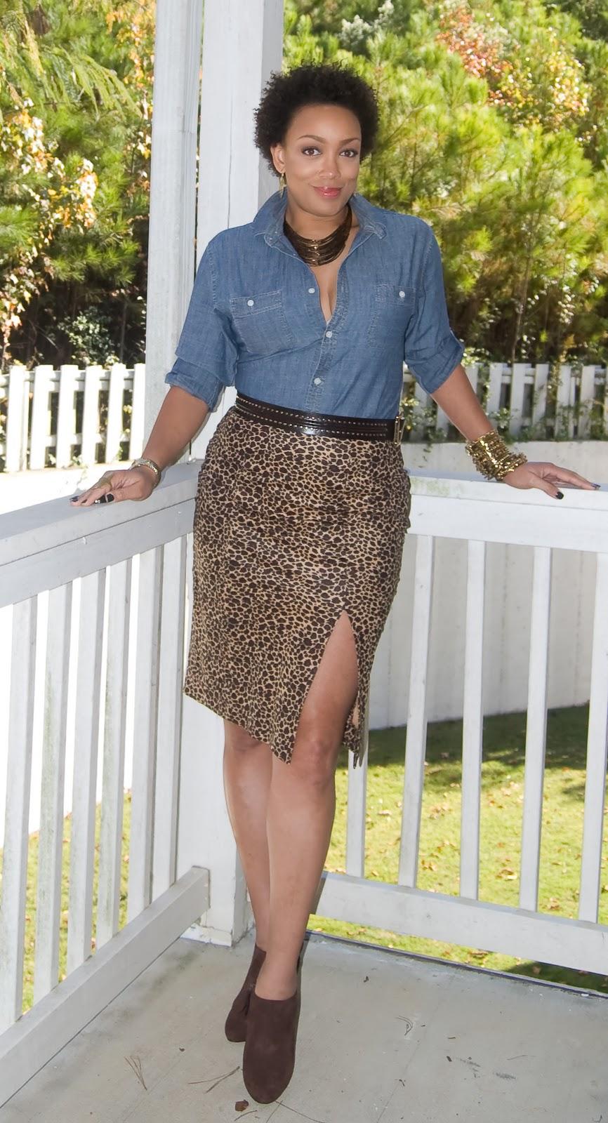 e279e9352c Inspired by Pinterest  Denim shirt + Leopard skirt