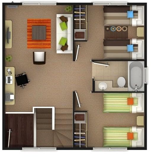 Plano unifamiliar de 2 pisos de 7m x 10m planos de casas