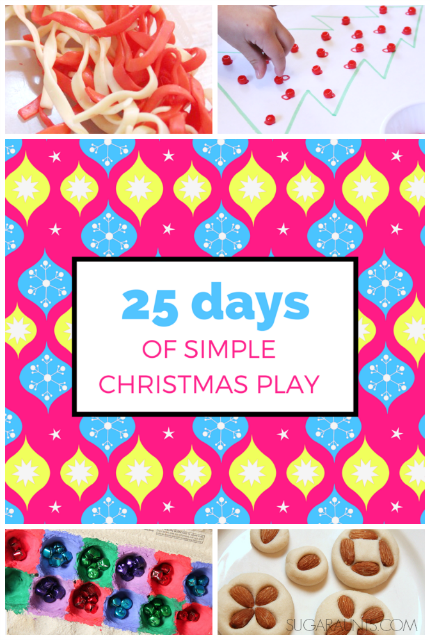 Simple Christmas play ideas for kids and families, perfect to fill an Advent calendar or to just play with your kids!  Or, use these simple and easy Christmas activities as quiet time Christmas crafts while you get a few things done during this busy holiday season!