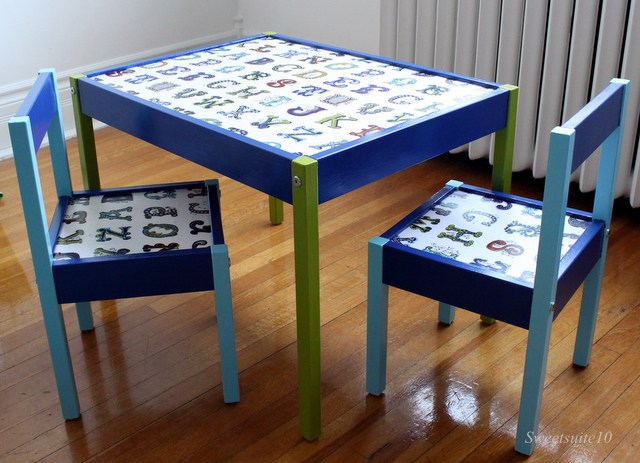 Ikea Latt table hacked with paint and fabric