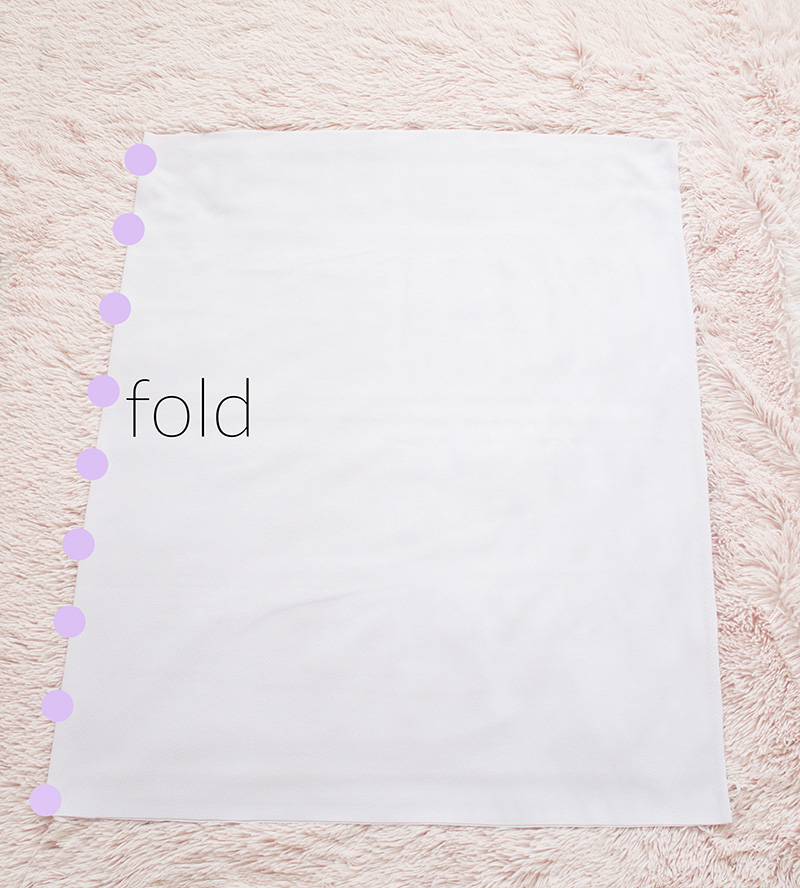 lining fabric folded in half