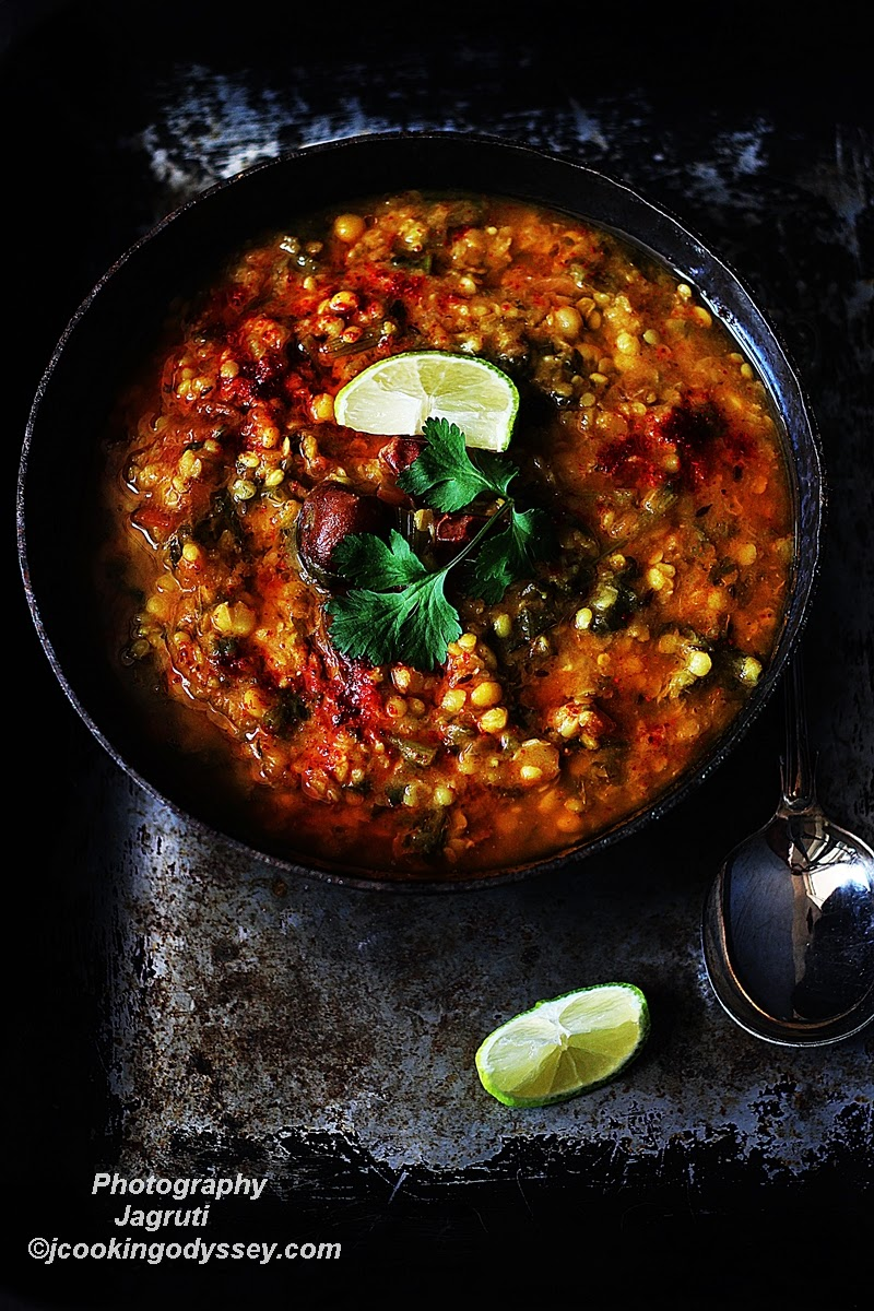 Mixed Daal with Turnip Greens, bursting with flavours, comforting and healthy vegan dish can be devour with Roti or Rice.