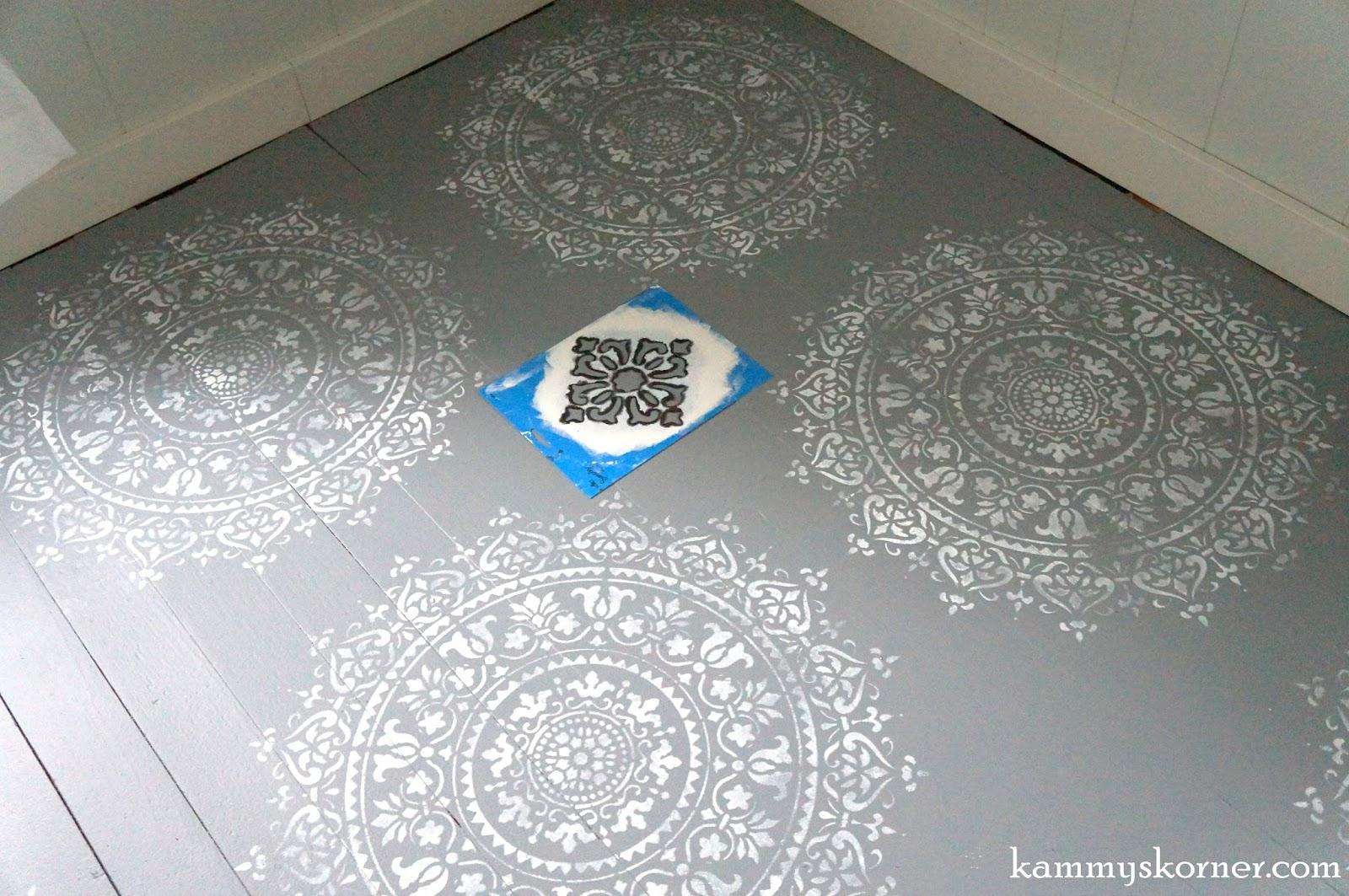 Kammy 39 s korner gorgeous stenciled wood floor in one hour for Floor stencils