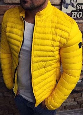 Şişme mont erkek sarı
