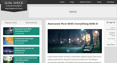 DualShock - 100% Free WordPress Blogging Theme