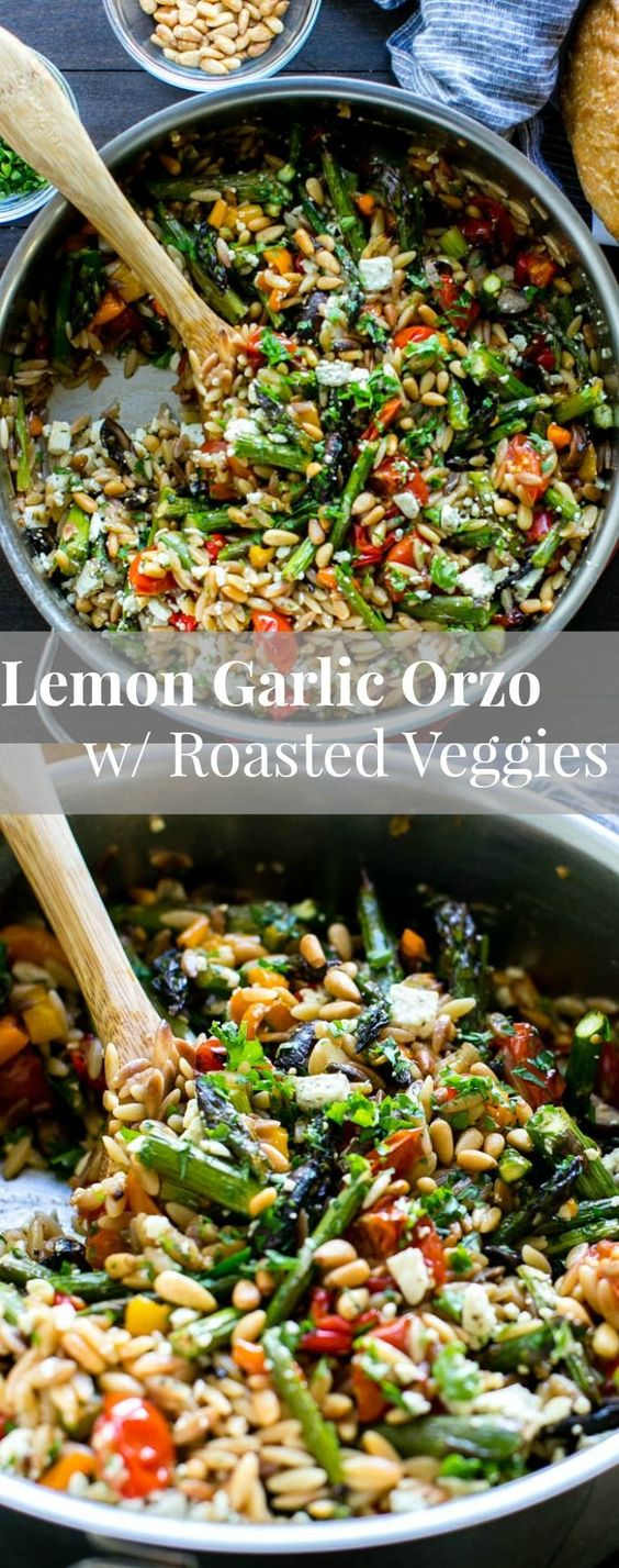 LEMON GARLIC ORZO WITH ROASTED VEGETABLES #lemon #garlic #orzo #roastedvegetable #veganrecipes #veggies #vegetarianrecipes #vegetablerecipes
