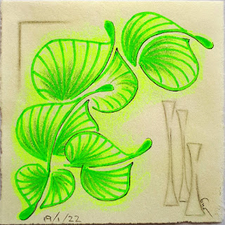 DIVA Challenge #381 A Happy (new) Medium = a green Highlighter and tangle pattern Damsel Leaf