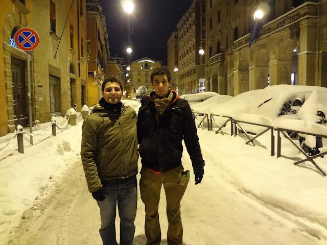 Calles nevadas en Bolonia