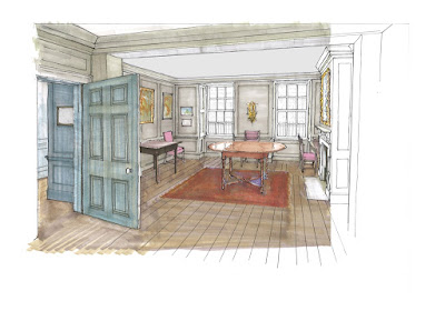 Plans for the restored front parlour at Handel's house in Brook Street