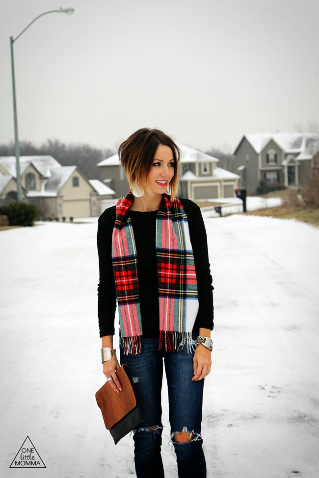 Plaid scarf and black tee