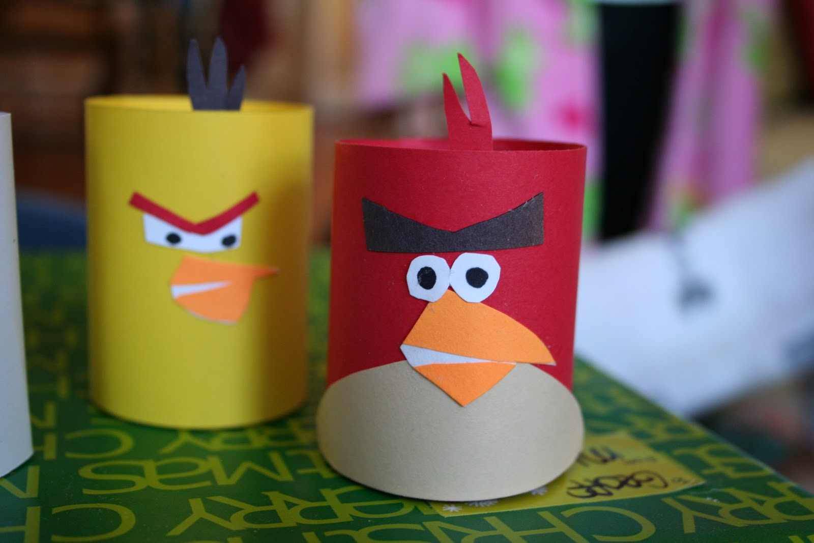 Pink and green mama toilet paper tube craft homemade for Crafts that use toilet paper rolls