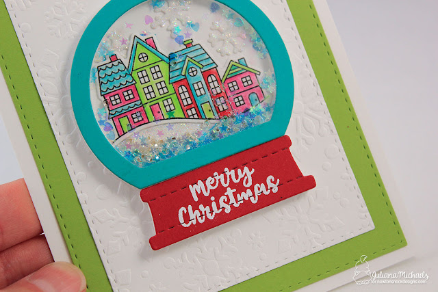 Detail image - Merry Christmas Snow Globe Shaker Card by Juliana Michaels featuring Snow Globe Scenes Stamp Set and Snow Globe Shaker Die by Newton's Nook Designs