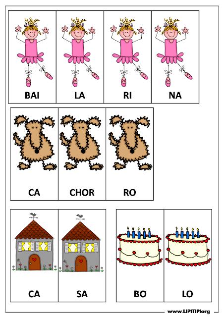 Ficha de Jogo Pedagógico Formação de Palavras com sílabas e figuras