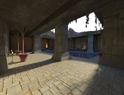 Ancient Temple Courtyard