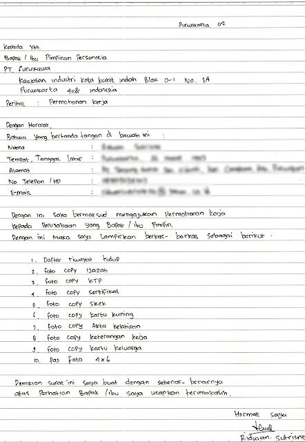 Contoh Surat Lamaran Kerja Tulis Tangan Yang Bagus