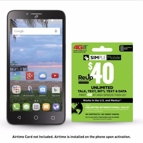 Simple Mobile Alcatel Pixi Glory + Free $40 Unlimited Plan Talk/Text/4GB Data