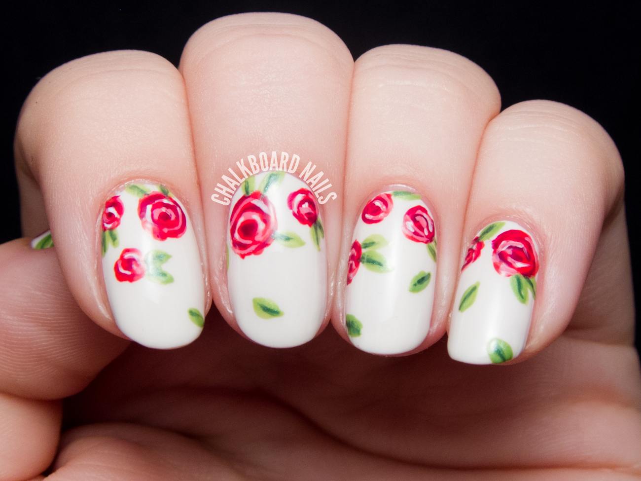 Sweet red rose nail art by @chalkboardnails