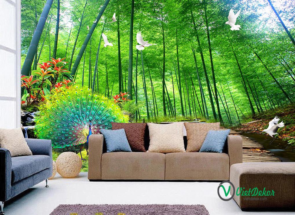 Tranh dán tường 3d phong cảnh rừng trúc chim công