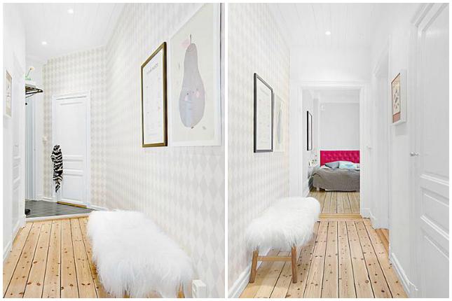 piso escandinavo blanco, gris y rosa