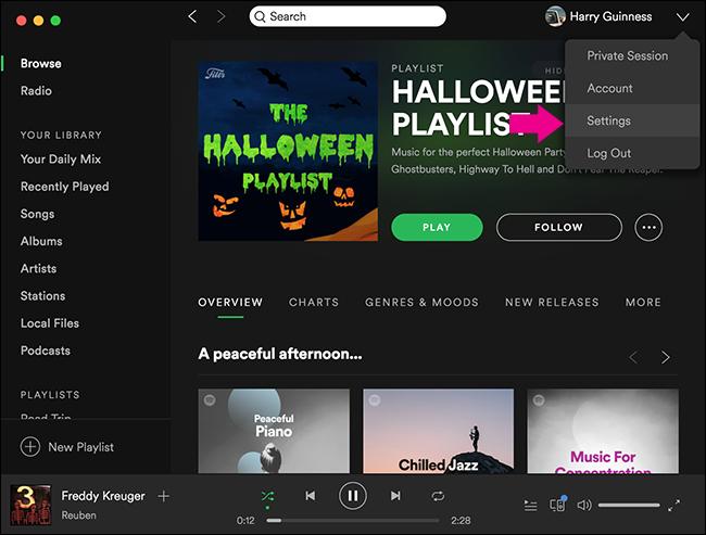 Modifica del volume di riproduzione di Spotify nel computer