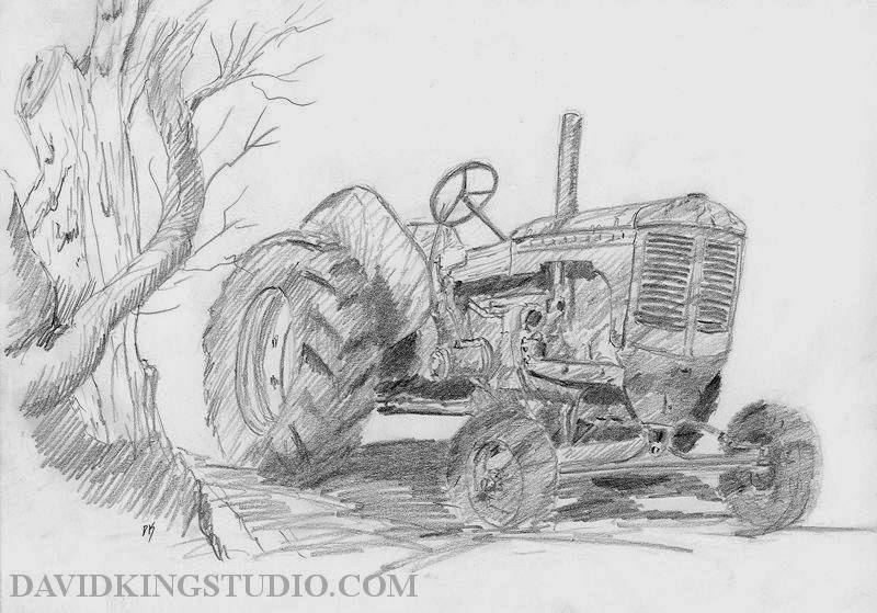 art sketch graphite pencil plein air tractor Moline