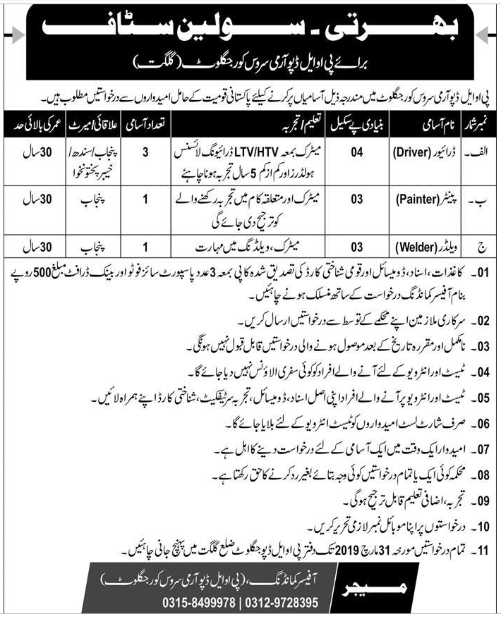 Advertisement for Pakistan Army Jobs March 2019