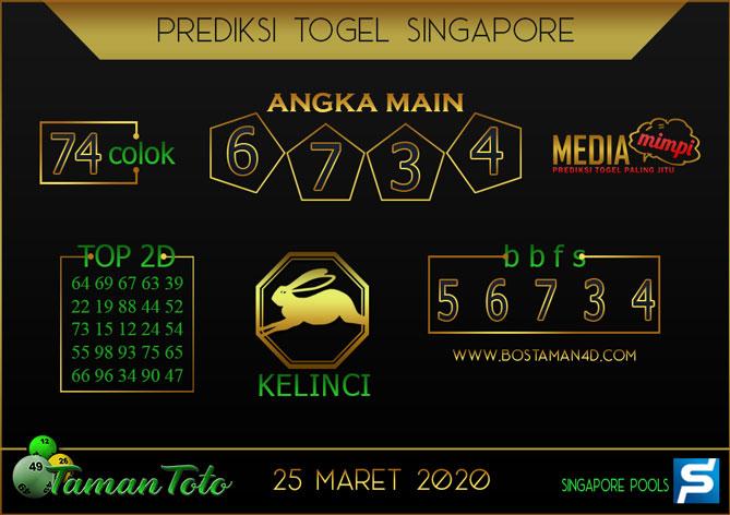 Prediksi Togel SINGAPORE TAMAN TOTO 25 MARET 2020