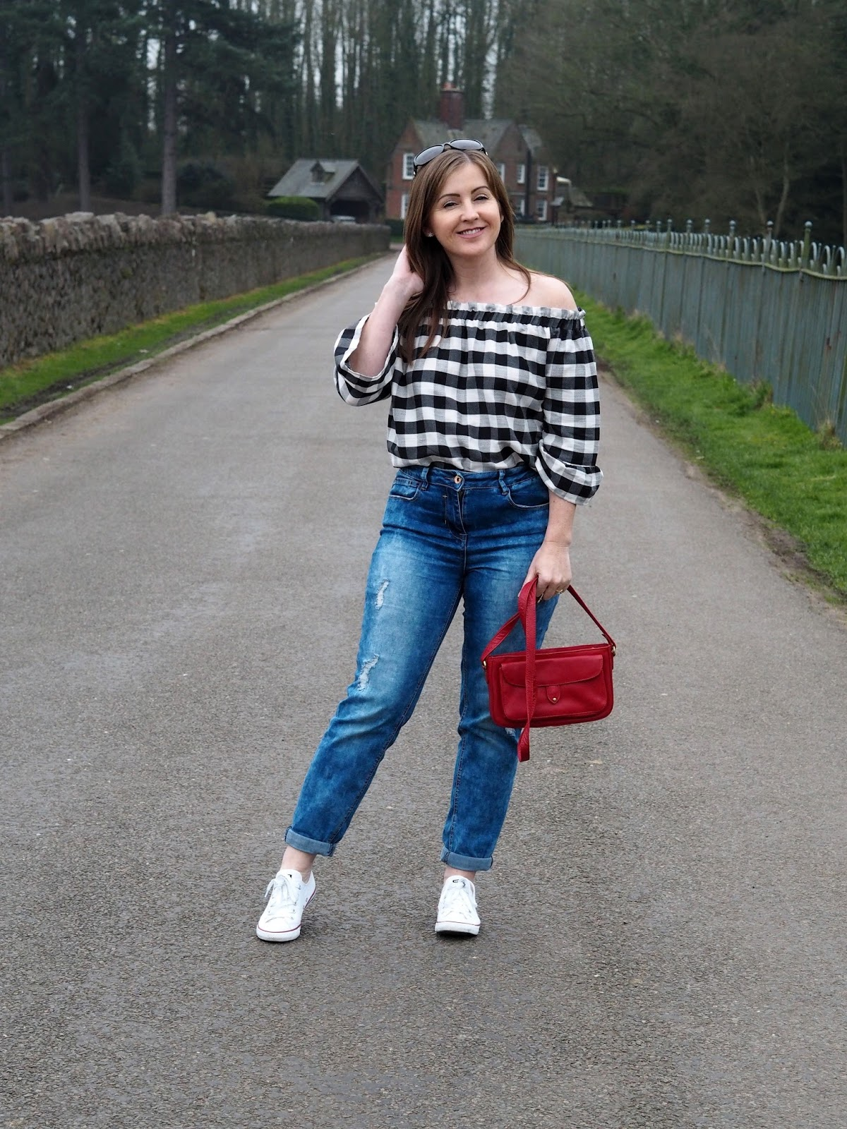 F&F Tesco gingham off the shoulder top fashion Priceless Life of Mine Over 40 lifestyle blog