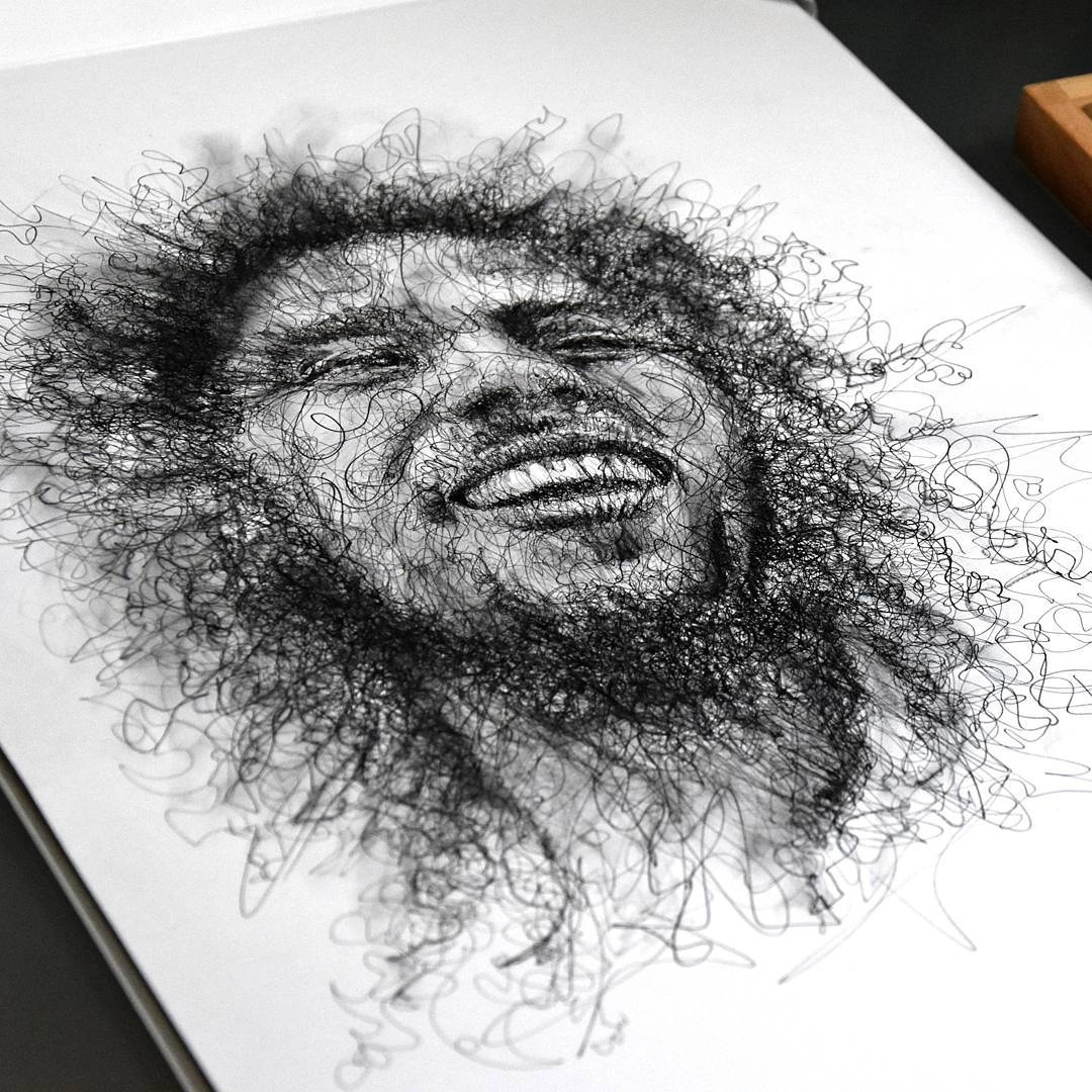 10-Bob-Marley-Erick-Centeno-Superheroes-Celebrities-and-Cartoons-Scribble-Drawings-www-designstack-co