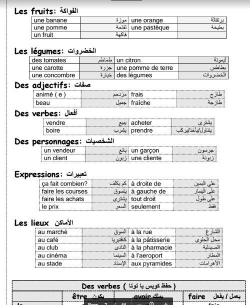مذكرة لغة فرنسية شرح منهج Bienvenue للصف الاول الاعدادى الفصل الدراسي الثاني 2017