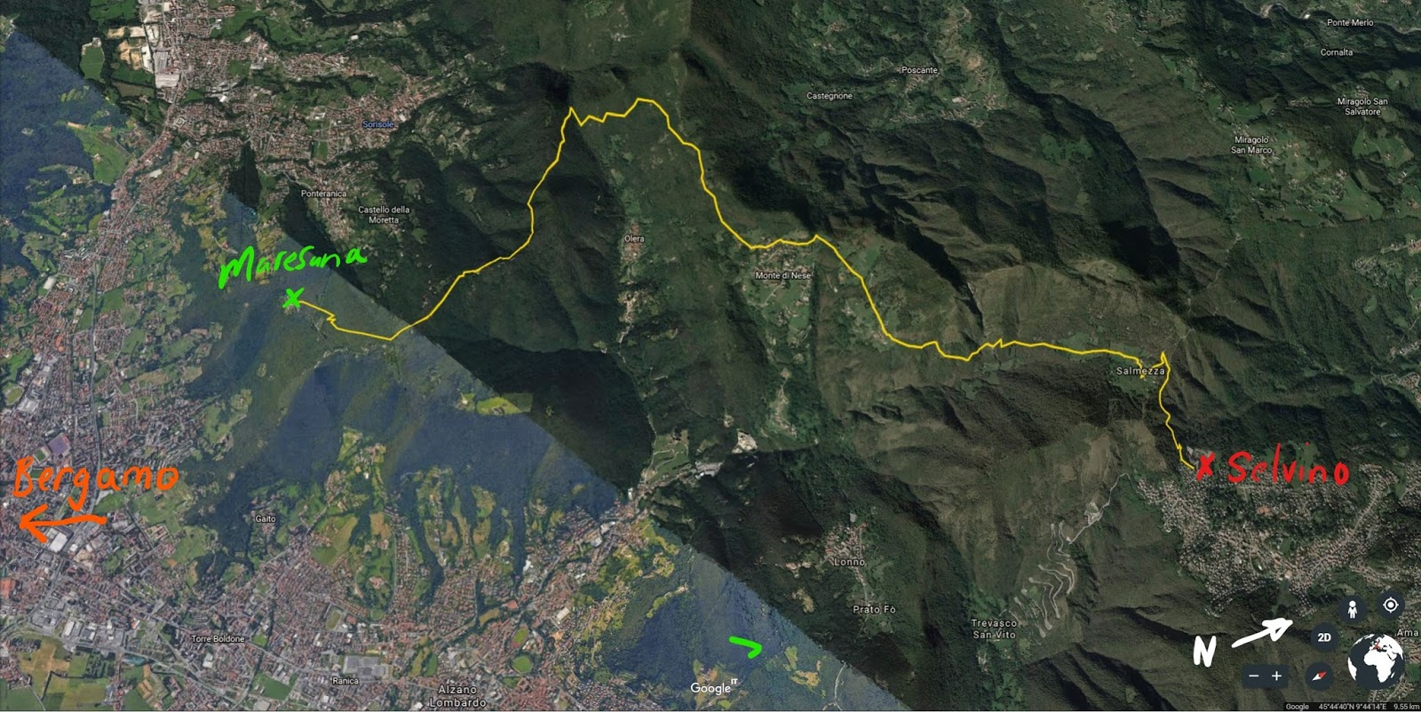 Hiking route from Maresana to Selvino along trail 533.