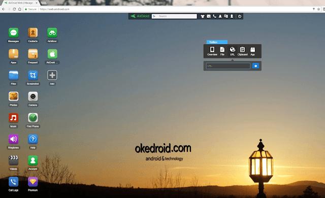 Situs Web AirDroid setelah terhubung Android ke PC ke Android