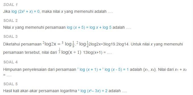 Contoh Soal Persamaan Logaritma Berbentuk A Log F X A Log P Asep Respati