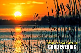 Good Evening Wishes on Beautiful Sunset at Lake Image.